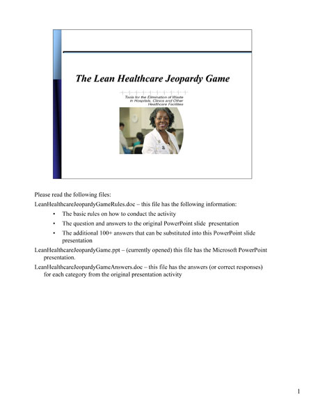 The Lean Healthcare Jeopardy Game