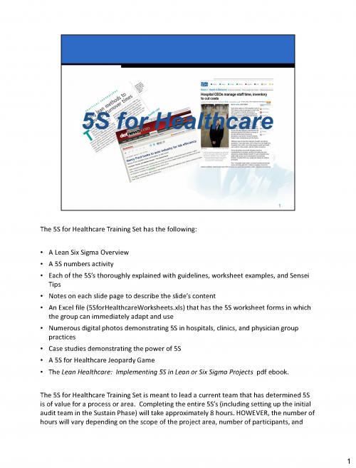 5S for Healthcare Training Set