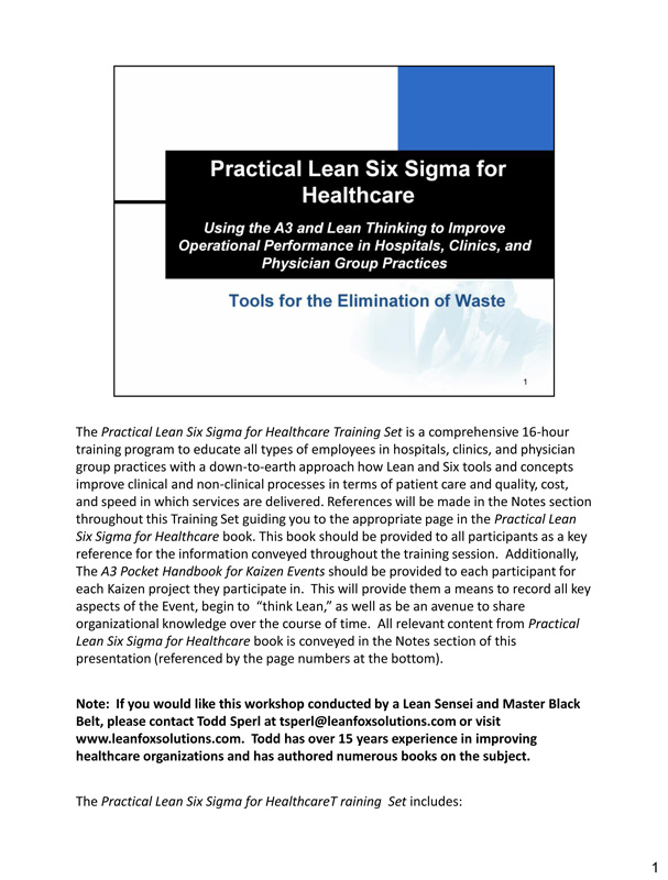 Practical Lean Six Sigma for Healthcare Training Set