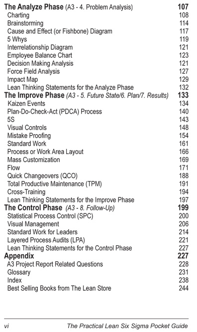 The Practical Lean Six Sigma Pocket Guide - Using the A3 and Lean Thinking to Improve Operational Performance in ANY Industry, ANY Time