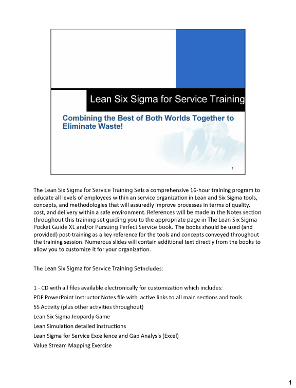 Lean Six Sigma for Service Training Set